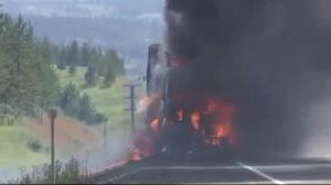Truck ignites on the Coquihalla Highway Wednesday