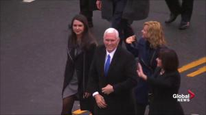 Trump inauguration: Mike Pence walks parade route with family