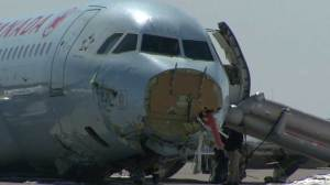 Raw Video: Damage, debris evident on Halifax runway after crash