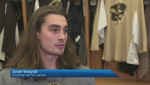 Manitoba Bisons hockey players growing hair out for cancer