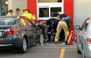 Cyclist pinned by car at McDonald's drive-thru in Oakville, Ont.