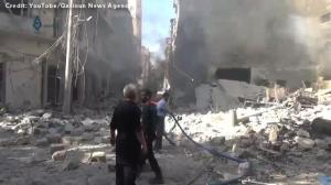 Local Syrian activists posts video claiming Russia, Assad regime using 'bunker buster' bombs