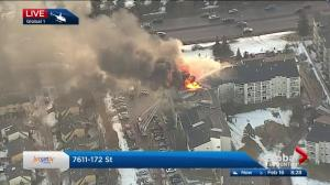 Large apartment building fire in west Edmonton's Callingwood area