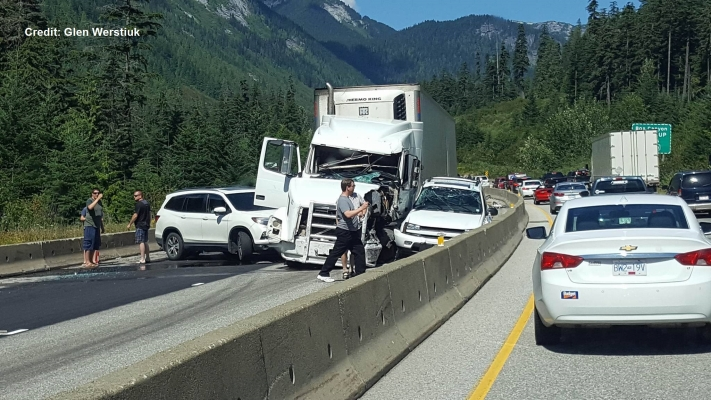 Highway 5 shut down southbound due to crash east of Hope