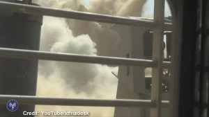 Video purports to show Hamas tunnel being blown up