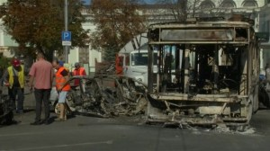 Aftermath of shelling near railway station in Eastern Ukraine