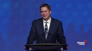 Andrew Scheer thanks wife, children and supporters after win