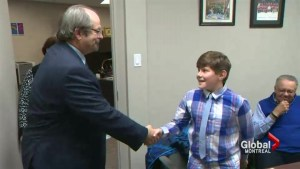 Pointe Claire student Adamo Hartley meets with his MNA, Geoff Kelly