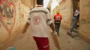 Raw video: Red Cross team comes under fire in Gaza