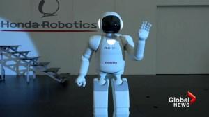 Honda's advanced humanoid robot, Asimo, visits factory in Alliston, Ontario