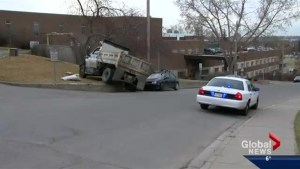 No one injured after dump truck loses control