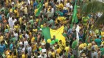 Footage of thousands of Brazilians  join rally protesting government corruption