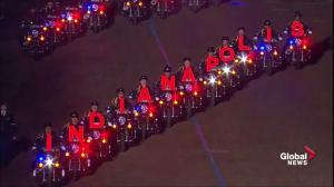 Trump Inauguration: Police motorcycles spell out 'Indianapolis'