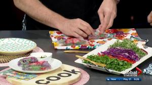 Making locally-sourced veggie wraps with Emily Mardell in the Global Edmonton kitchen (Part 3 of 3)