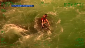 California Highway Patrol rescues man stranded on rock in Yuba River