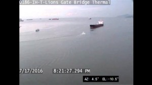 Camera captures near-miss boat collision in Burrard Inlet
