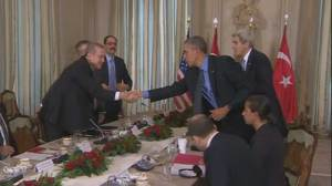 Obama breaks from climate talks to meet with Turkish president
