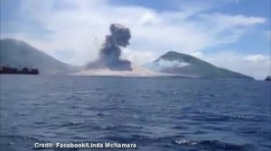 Sonic boom from volcano eruption hits onlookers