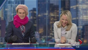 Brendan Parker borrows some winter essentials on set to help fight the cold