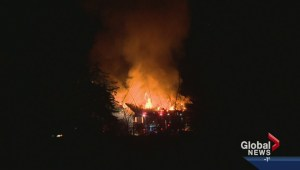 Home engulfed in flames near Chestermere