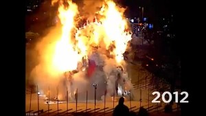 Security video of Swedish Giant Yule goat being burned over the years