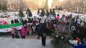 Syrians demonstrate on steps on Alberta Legislature