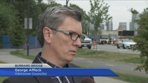 Vancouver city councillor George Affleck asks for review of fencing on Burrard Bridge