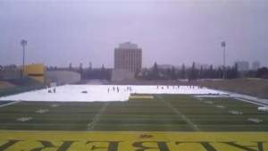 Time-lapse video of inflation of Foote Field dome at University of Alberta
