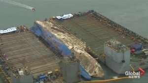 Salvage work continues on sunken ferry off South Korean coast