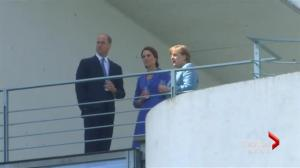 Duke and Duchess of Cambridge greet Angela Merkel in Germany