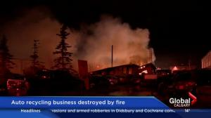 Auto recycle business destroyed by fire