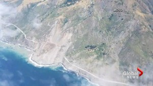 Massive landslide covers California highway with 40-foot layer of rock and dirt