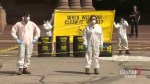 Protesters dump foamy substance at Queen's Park entrance