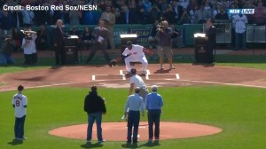 Tom Brady throws first pitch at Red Sox game, comes up a bit short