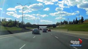 Edmonton dascham video shows 2 cars narrowly avoid disastrous collision