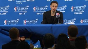 Stephen Curry's daughter steals spotlight during news conference