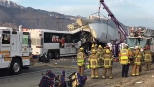 Fatal tour bus crash after colliding into a semi truck