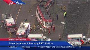 Calgary Transit CTrain derailed at Tuscany LRT station