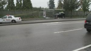 Surrey crash sends car into house