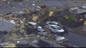 Aerial view of damage from tornado that hit Boston suburb