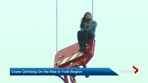 Crane climbing on the rise in York Region