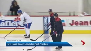 Montreal Canadiens first practice with new coach Claude Julien