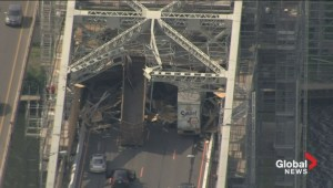 Aerial footage: Burlington Skyway closed after truck strikes scaffolding