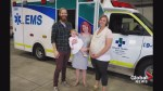 Airdrie mom reunites with paramedic after roadside baby delivery