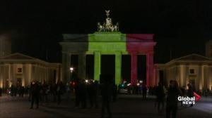 Brandenburg Gate lights up in Belgium colours after bombing attacks