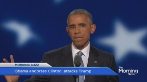 Obama heralds Clinton, blasts Trump during DNC speech