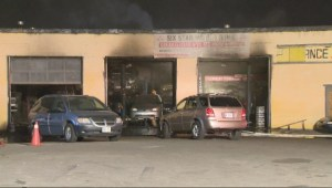 2-alarm fire engulfs Etobicoke auto repair shop