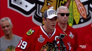Jonathan Toews gets a hero's welcome at Chicago Blackhawks Stanley Cup rally