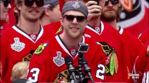 The Chicago Blackhawks sing to their fans