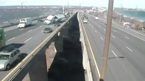 Newly released video shows transport truck rollover on Burlington Skyway in March